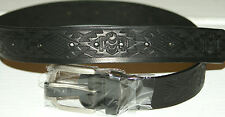 NEW BLACK LEATHER BELT W/BUCKLE INDIAN 34 X 1 1/2  FREE S/H