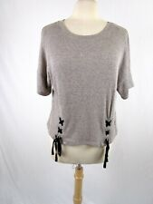 Scoop Neck Lightweight Knit Top Size XL Short Sleeve Lace Up Front at waist