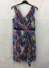 M&Co Boutique Multi Colour Flecked Print Faux Wrap Dress Size 12