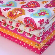 Hearts Floral Fat Quarter Bundle - 100% Cotton Fabric - Sewing, Quilting