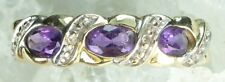 NEW Genuine Solid 9CT Yellow Gold Real Natural Amethyst Diamond Ring  Size L 1/2