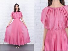 Vintage 70s Pink Maxi Dress Goddess Pleated Cape Draped XXS