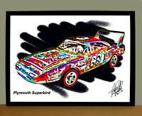 Plymouth Superbird Car Racing Poster Print Wall Art 18x24