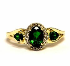 10k yellow gold .10ct SI2 H diamond halo chrome diopside gemstone ring 2.6g