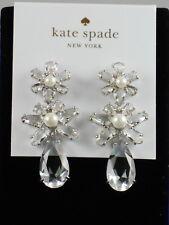 Kate Spade Silver Plate FLORA Crystal Faux Pearl Flower Teardrop Linear Earrings