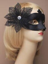 Blacr glitter side flower mask, fancy dress, party dress up, eye mask