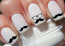 Black Moustache Nail Art Stickers Transfers Decals Set of 52