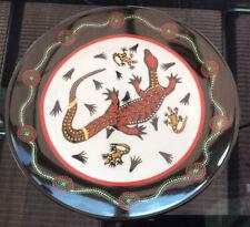 Vintage Tobwabba Art Goanna Authentic Australian Aboriginal Art Plate-perfect