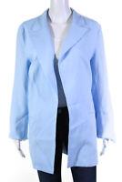 Sablyn Womens Giselle Open Front Linen Blazer Azure Size Large
