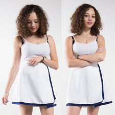 WOMENS VINTAGE WHITE WRAP AROUND TENNIS SKIRT HIGH WAIST CASUAL RETRO IBIZA 12