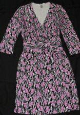 Diane Von Furstenberg Rayon Spandex Knit Wrap Dress Purple Floral Lily Sz 2