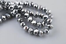 100Pcs Exquisite Crystal Glass Faceted Rondelle Beads 3mm Findings Silver