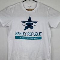Oakley Mens T Shirt Size Small S Short Sleeve Shirt Oakley Republic Logo White
