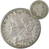 1882 S Morgan Dollar XF EF Extremely Fine with 1913 Barber Dime G Good