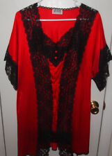 VINTAGE AVON STYLE  LINGERIE RED SLIP NIGHTY WITH MATCHING ROBE ~ NWOT ~ SIZE S