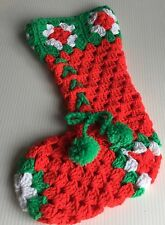Vintage Hand-Made Crochet Christmas Stocking Lace Up Bootie Tassel Yarn Red