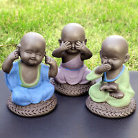 Speak Hear See NO Evil Wise Monk Tea Pet Figurines Ceramic Buddha Statues Décor