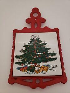 Vintage Red Cast iron / Ceramic Tile Christmas Tree Trivet
