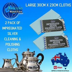 SILVER CLEANING & POLISHING CLOTH With Anti Tarnish LARGE 30cm x 23cm-2 PACK