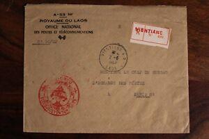 Laos 1967 Royaume du Laos Recommandé Air Mail cover Par Avion Registered