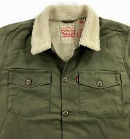 Levis Sherpa Military Shirt Jacket Mens Olive Night Army Green MSRP $118