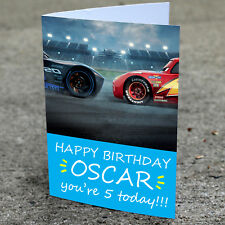 Cars Birthday Card - Professionally printed and personalised to your needs