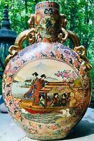 Vintage Unique Huge Heavy Satsuma Moon Flask Vase with Dragon Handles