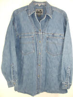 Vintage Levi Strauss SilverTab Womens Denim Shirt Metal Buttons Hong Kong Size M