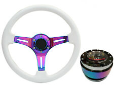 White Neo Chrome TS Steering Wheel Neo Quick Release boss NCh for LAND ROVER
