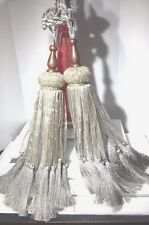 "2 Luxury 46"" Beaded Silk Ribbon Tassel Curtain Tieback Holdback Window Silver"