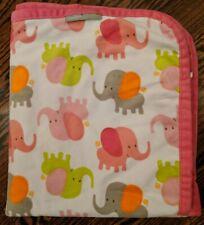 Blankets & Beyond Elephant Baby Blanket Pink White Green Orange Gray Plush