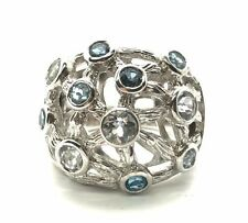 Sterling Silver 925 Round Blue Aquamarine / Topaz Textured Web Cocktail Ring 7