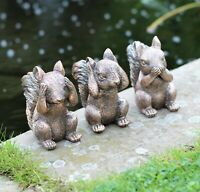 GARDEN ORNAMENT 3 WISE SQUIRRELS DECORATIVE INDOOR OUTDOOR DECOR