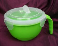 1 X GREEN PLASTIC MICROWAVABLE FOOD BOWL VENTED LID-CLIP LOCK CONTAINER DISH POT