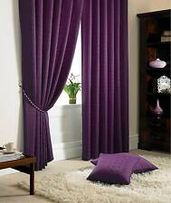 Jacquard Check Purple Lined Pencil Pleat Curtains Drapes *9 Sizes* 66x90