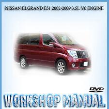 NISSAN ELGRAND E51 2002-2009 3.5L V6 ENGINE REPAIR SERVICE MANUAL IN DISC
