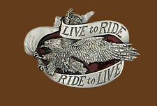 NEW Live to Ride / Ride to Live Eagle Belt Buckle 3 1/2 x 2 5/8 Made in USA