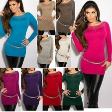 ♥ SeXy Miss Damen Strick Long Pullover Glamour Nieten Dekollete Pulli 34/36/38