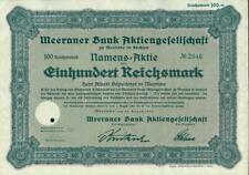 Meeraner Bank Aktiengesellschaft zu Meerane in Sachsen 1925 100 RM