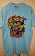 VINTAGE '91 Roarin' 30's Route 66 Rod Run Men's Blue XL T-Shirt Hot Rod Auto Car