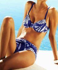 Damen Bügel Bikini Badeanzug Blau Weiss Blüten Muster Ziergürtel Größe 36 D-Cup