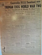 1946 Vintage Newspaper Truman Ends WWII Eisenhower To Run For President