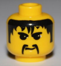 LeGo 2x Yellow Minifig Head w/ Black Hair Mustache NEW