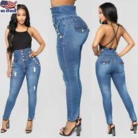 Womens High Waist Slim Skinny Jeans Ladies Stretch Pencil Denim Pants Trousers