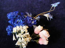 "Vintage Millinery Flower Collection 3/4 -2"" Blue Pink White For Hat Hair H1148"