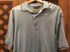 BOBBY JONES COLLECTION Polo Golf Shirt Men's Size L Light Blue W/ Golfer @button