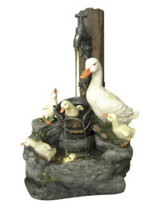 Duck Family at Tap Water Feature With LED Lights