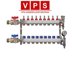 9-port Underfloor Heating Manifold with Eurocones, Valves & Gauges