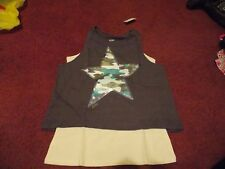 nwt-- Justice girls size 18--steel gray--white 2fer top ---nwt