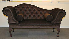 Brown Chenille Fabric Double Ended Chaise Longue Slipper Sofa with Bolsters